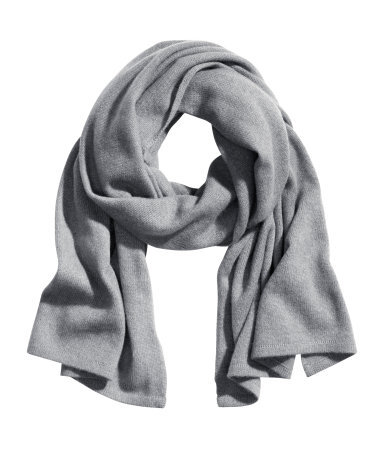 Cashmere Scarf - predominant colour: light grey; occasions: casual, work, creative work; style: regular; size: standard; material: knits; pattern: plain; season: a/w 2013