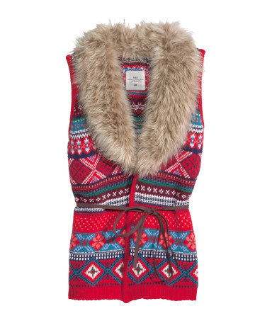 Knitted Waistcoat - sleeve style: sleeveless; style: gilet; fit: slim fit; predominant colour: true red; occasions: casual, creative work; length: standard; fibres: cotton - mix; pattern: fairisle; sleeve length: sleeveless; texture group: knits/crochet; collar: fur; collar break: medium; pattern type: knitted - other; pattern size: standard; embellishment: fur; season: a/w 2013; multicoloured: multicoloured; wardrobe: highlight; embellishment location: bust, neck