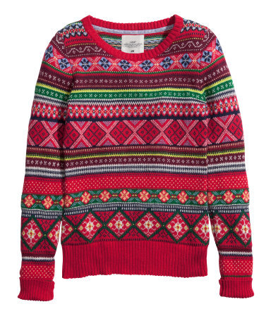 Knitted Jumper - neckline: round neck; style: standard; occasions: casual, creative work; length: standard; fibres: cotton - mix; fit: standard fit; sleeve length: long sleeve; sleeve style: standard; texture group: knits/crochet; pattern type: knitted - other; pattern: patterned/print; predominant colour: raspberry; trends: christmas jumpers; season: a/w 2013