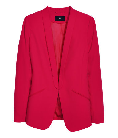 Tuxedo Jacket - pattern: plain; style: single breasted blazer; collar: shawl/waterfall; predominant colour: true red; occasions: casual, evening, work, occasion, creative work; length: standard; fit: tailored/fitted; fibres: polyester/polyamide - stretch; sleeve length: long sleeve; sleeve style: standard; collar break: low/open; pattern type: fabric; texture group: woven light midweight; trends: broody brights; season: a/w 2013