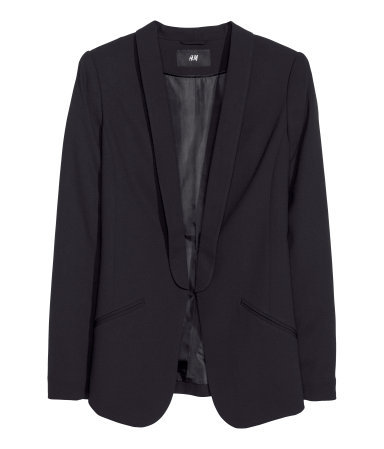 Tuxedo Jacket - pattern: plain; style: single breasted blazer; collar: shawl/waterfall; length: below the bottom; predominant colour: black; occasions: casual, evening, work, occasion, creative work; fit: tailored/fitted; fibres: polyester/polyamide - stretch; sleeve length: long sleeve; sleeve style: standard; collar break: low/open; pattern type: fabric; texture group: woven light midweight; trends: masculine feminine; season: a/w 2013