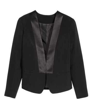+ Jacket - pattern: plain; style: single breasted blazer; collar: round collar/collarless; predominant colour: black; occasions: evening, work, occasion, creative work; length: standard; fit: tailored/fitted; fibres: polyester/polyamide - stretch; sleeve length: long sleeve; sleeve style: standard; texture group: crepes; collar break: medium; pattern type: fabric; trends: gothic romance; season: a/w 2013