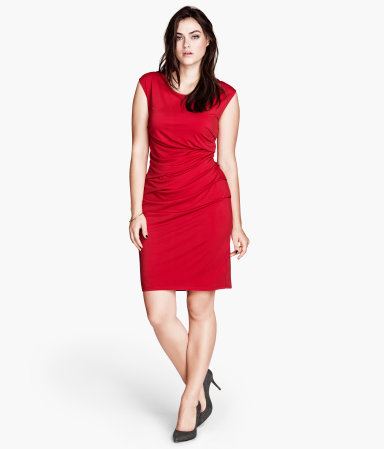 + Jersey Dress - style: shift; neckline: round neck; sleeve style: capped; pattern: plain; waist detail: flattering waist detail; predominant colour: true red; occasions: evening, occasion; length: just above the knee; fit: body skimming; fibres: polyester/polyamide - stretch; hip detail: subtle/flattering hip detail; sleeve length: sleeveless; pattern type: fabric; texture group: jersey - stretchy/drapey; season: a/w 2013