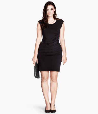 + Jersey Dress - style: shift; length: mid thigh; neckline: round neck; sleeve style: capped; pattern: plain; waist detail: flattering waist detail; predominant colour: black; occasions: evening; fit: body skimming; fibres: polyester/polyamide - stretch; sleeve length: sleeveless; pattern type: fabric; texture group: jersey - stretchy/drapey; season: a/w 2013