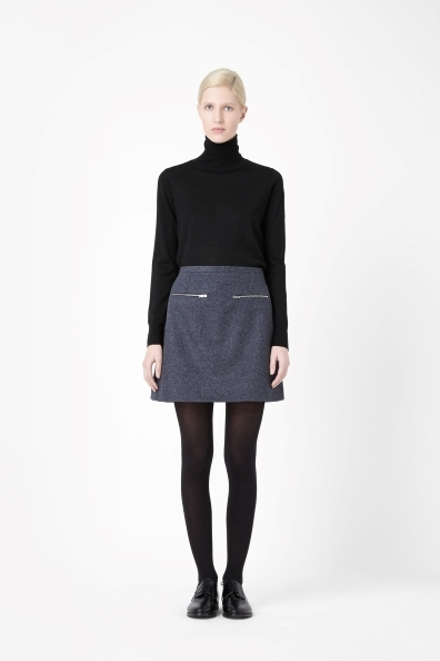 Wool Cashmere Skirt - length: mid thigh; pattern: plain; fit: loose/voluminous; hip detail: front pockets at hip; waist: high rise; predominant colour: denim; occasions: casual, work, creative work; style: a-line; fibres: wool - mix; texture group: woven light midweight; trends: broody brights; season: a/w 2013