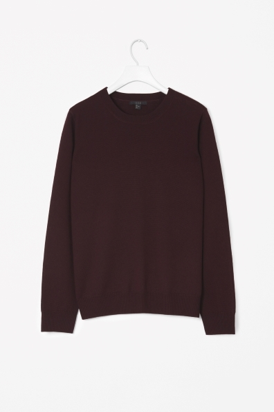 Merino Wool Jumper - pattern: plain; style: standard; predominant colour: burgundy; occasions: casual, work, creative work; length: standard; fibres: wool - 100%; fit: standard fit; neckline: crew; sleeve length: long sleeve; sleeve style: standard; texture group: knits/crochet; pattern type: knitted - fine stitch; trends: broody brights; season: a/w 2013