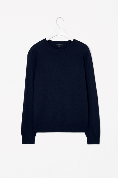 Merino Wool Jumper - pattern: plain; style: standard; predominant colour: navy; occasions: casual, work, creative work; length: standard; fibres: wool - 100%; fit: standard fit; neckline: crew; sleeve length: long sleeve; sleeve style: standard; texture group: knits/crochet; pattern type: knitted - fine stitch; trends: broody brights; season: a/w 2013