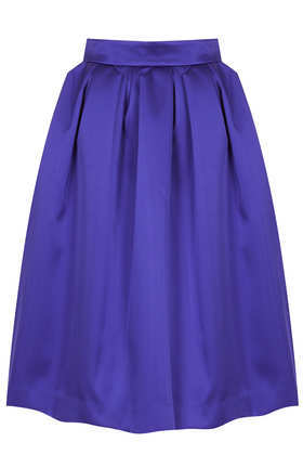 **Limited Edition Duchess Satin Midi Skirt - pattern: plain; style: full/prom skirt; fit: loose/voluminous; waist: high rise; predominant colour: purple; occasions: casual, evening, occasion, creative work; length: on the knee; fibres: polyester/polyamide - stretch; hip detail: structured pleats at hip; texture group: structured shiny - satin/tafetta/silk etc.; pattern type: fabric; trends: 1940's hitchcock heroines; season: a/w 2013