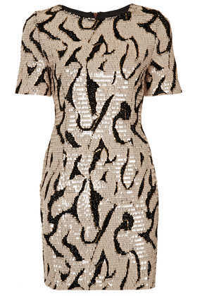 Sequin Tinsel T Shirt Dress - style: shift; length: mini; neckline: round neck; predominant colour: gold; secondary colour: black; occasions: evening, occasion; fit: body skimming; fibres: polyester/polyamide - mix; sleeve length: short sleeve; sleeve style: standard; pattern type: fabric; pattern: patterned/print; texture group: other - light to midweight; embellishment: sequins; trends: excess embellishment; season: a/w 2013