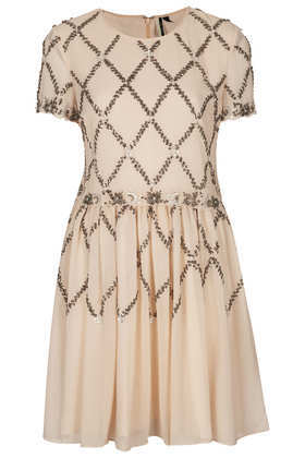 Cross Embellished Skater Dress - length: mid thigh; neckline: round neck; pattern: plain; bust detail: added detail/embellishment at bust; waist detail: embellishment at waist/feature waistband; predominant colour: nude; secondary colour: bronze; occasions: evening, occasion; fit: fitted at waist & bust; style: fit & flare; fibres: polyester/polyamide - 100%; hip detail: soft pleats at hip/draping at hip/flared at hip; shoulder detail: added shoulder detail; sleeve length: short sleeve; sleeve style: standard; texture group: sheer fabrics/chiffon/organza etc.; pattern type: fabric; embellishment: beading; trends: excess embellishment; season: a/w 2013