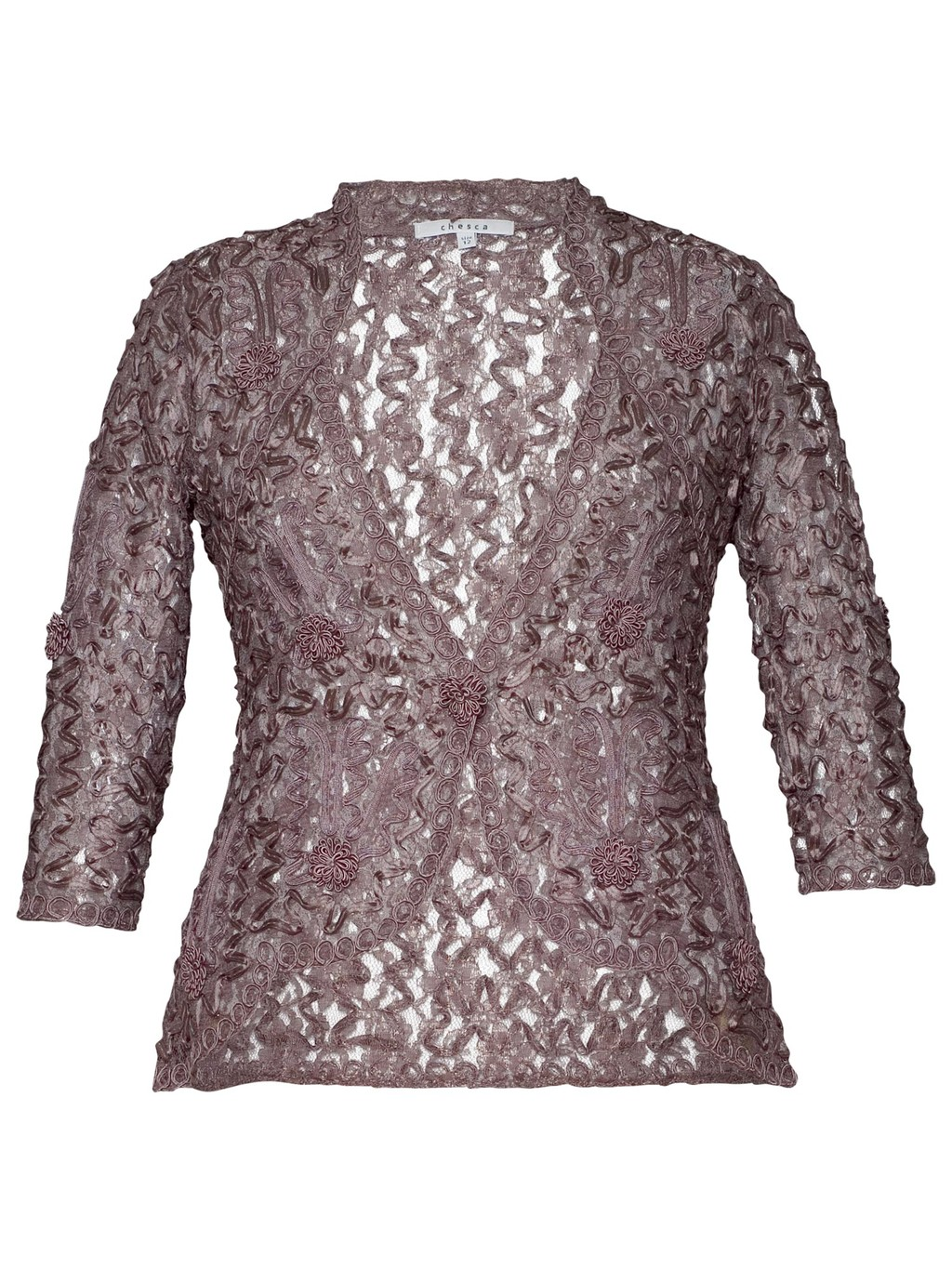 Lace Cornelli Embroidered Trim Jacket, Mocha - style: bolero/shrug; collar: round collar/collarless; fit: slim fit; predominant colour: taupe; occasions: evening, occasion; length: standard; fibres: nylon - mix; sleeve length: 3/4 length; sleeve style: standard; texture group: lace; collar break: medium; pattern type: fabric; pattern: patterned/print; embellishment: lace; season: a/w 2013