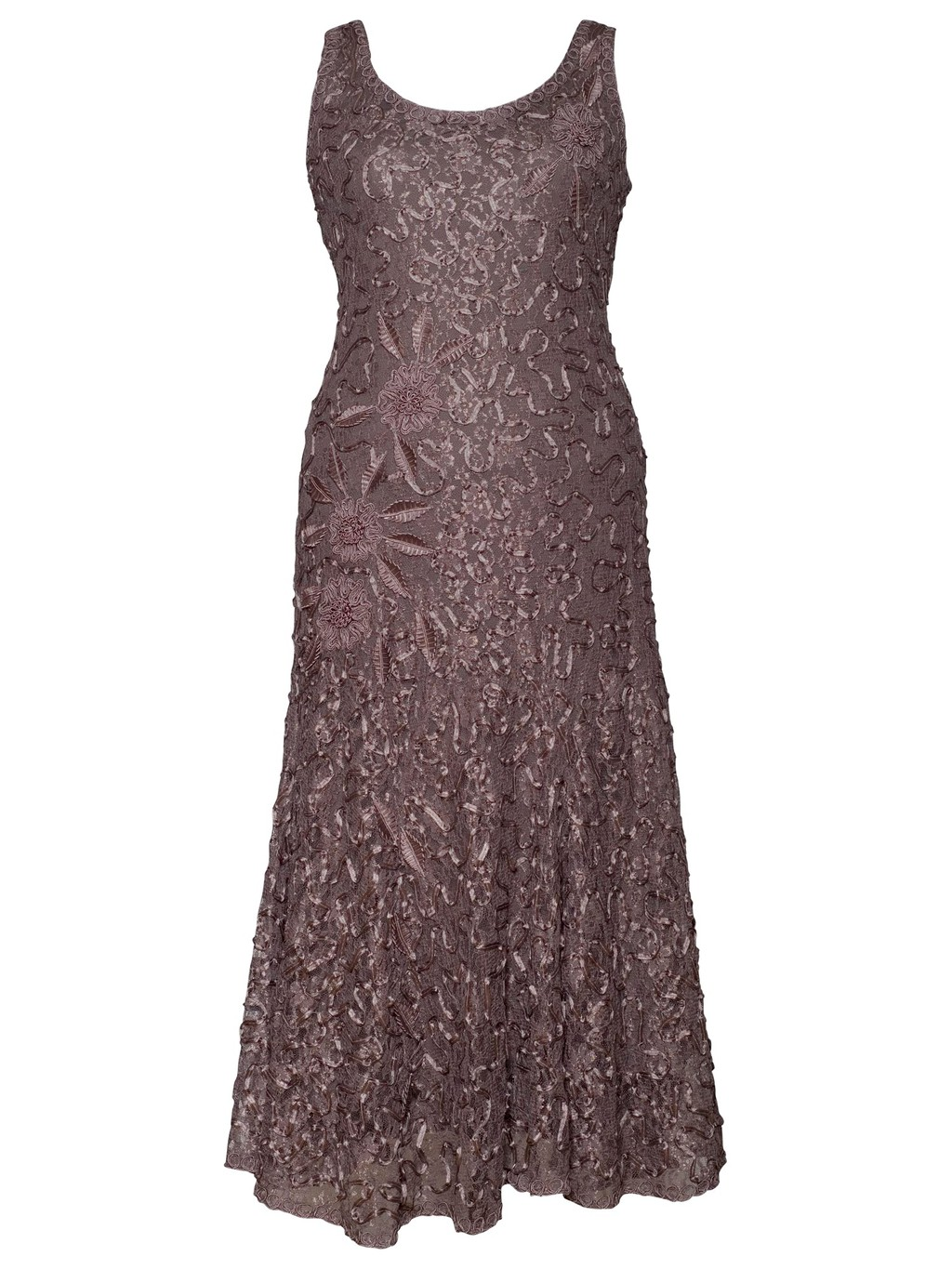 Lace Cornelli Embroidered Dress - neckline: round neck; sleeve style: sleeveless; style: maxi dress; length: ankle length; predominant colour: taupe; occasions: evening, occasion; fit: body skimming; fibres: nylon - mix; sleeve length: sleeveless; texture group: lace; pattern type: fabric; pattern: patterned/print; embellishment: applique; season: a/w 2013; wardrobe: event; embellishment location: all over