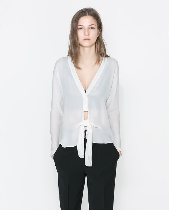 Studio Knot Shirt - neckline: low v-neck; pattern: plain; style: blouse; predominant colour: ivory/cream; occasions: casual, evening, work, creative work; length: standard; fibres: silk - 100%; fit: body skimming; sleeve length: long sleeve; sleeve style: standard; texture group: silky - light; pattern type: fabric; season: a/w 2013