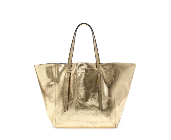 Crackled Leather Shopper - predominant colour: gold; occasions: casual, holiday, creative work; style: tote; length: shoulder (tucks under arm); size: oversized; material: leather; pattern: plain; finish: metallic; season: a/w 2013
