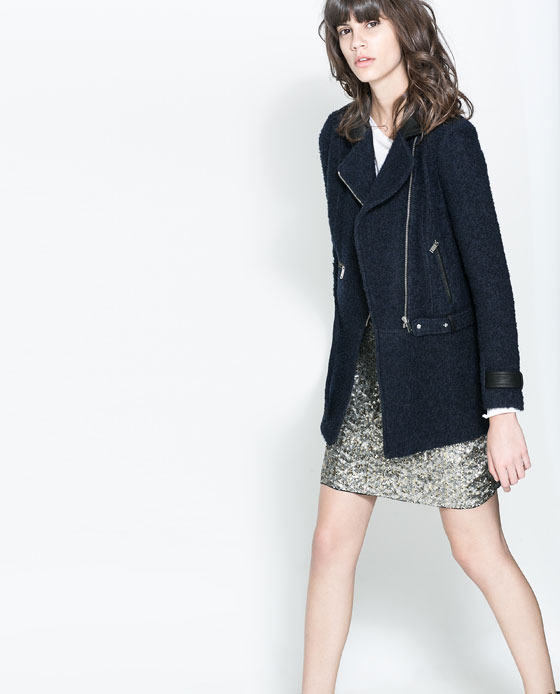 Jacket With Belt - pattern: plain; style: single breasted blazer; collar: asymmetric biker; predominant colour: navy; occasions: casual, evening, work, creative work; length: standard; fit: straight cut (boxy); fibres: cotton - mix; sleeve length: long sleeve; sleeve style: standard; collar break: medium; pattern type: fabric; texture group: woven light midweight; trends: gorgeous grunge; season: a/w 2013
