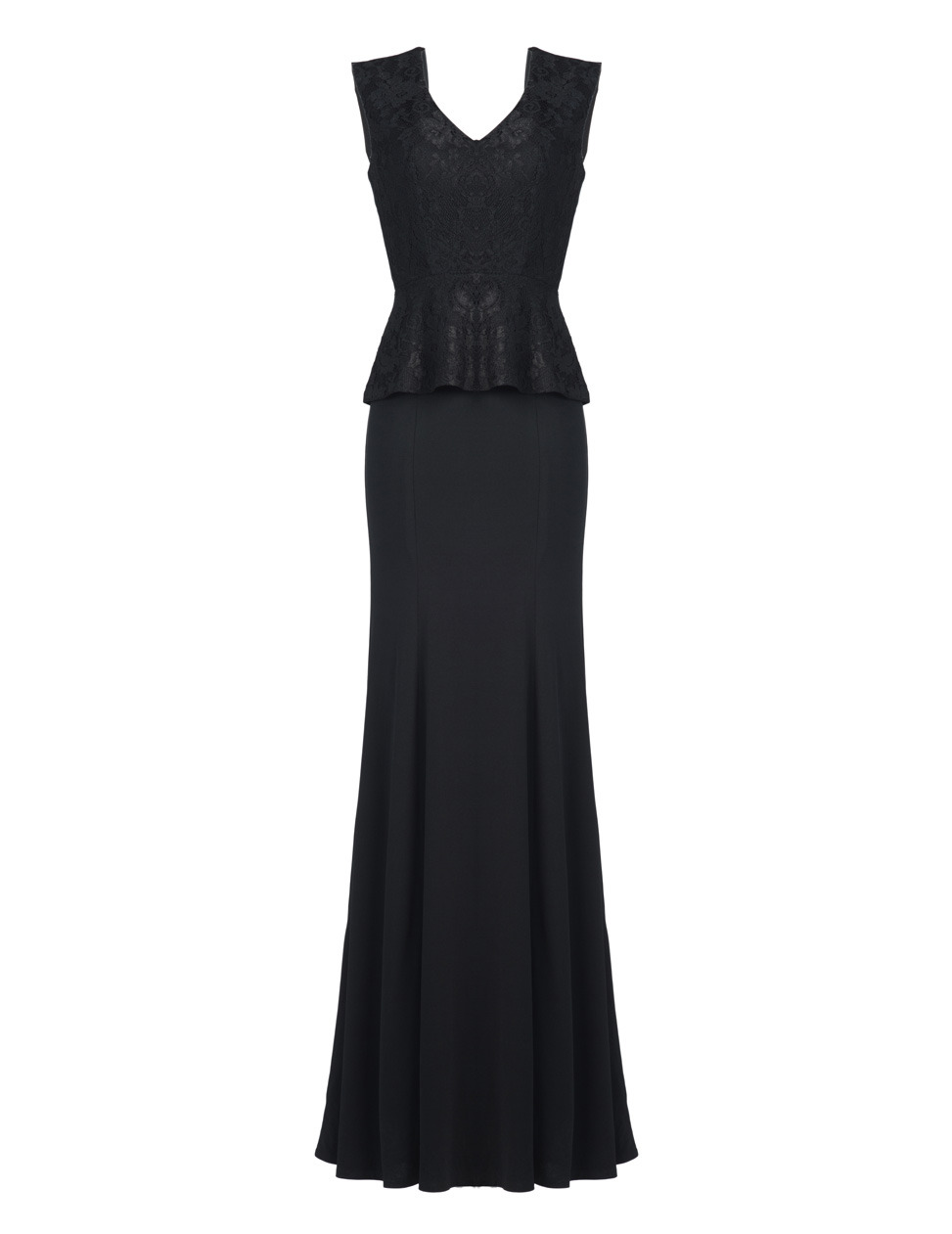 Darshi Black Slim Long Dress - neckline: low v-neck; pattern: plain; sleeve style: sleeveless; style: maxi dress; waist detail: peplum waist detail; predominant colour: black; occasions: evening, occasion; length: floor length; fit: body skimming; fibres: polyester/polyamide - stretch; sleeve length: sleeveless; pattern type: fabric; texture group: other - light to midweight; trends: gothic romance; season: a/w 2013