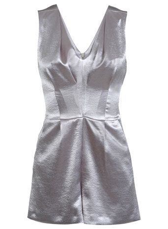 Shimmer Silver Playsuit - neckline: low v-neck; fit: tailored/fitted; pattern: plain; sleeve style: sleeveless; length: mid thigh shorts; predominant colour: silver; occasions: evening, occasion; fibres: polyester/polyamide - 100%; sleeve length: sleeveless; texture group: structured shiny - satin/tafetta/silk etc.; style: playsuit; pattern type: fabric; trends: shimmery metallics; season: a/w 2013