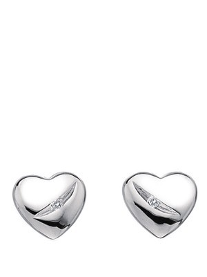 Shooting Star Sterling Silver And Diamond Heart Earrings - predominant colour: silver; occasions: casual, evening, work, occasion, holiday, creative work; style: stud; length: short; size: small/fine; material: chain/metal; fastening: pierced; finish: metallic; embellishment: crystals/glass; season: a/w 2013