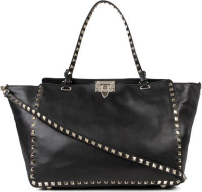 Rockstud Medium Tote, Women's, Black - predominant colour: black; occasions: casual, work, creative work; style: tote; length: handle; size: standard; material: leather; embellishment: studs; pattern: plain; finish: plain; season: a/w 2013
