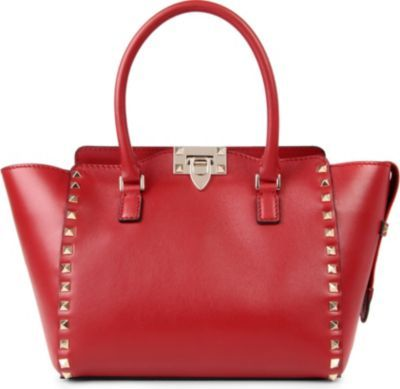 Rockstud Shoulder Bag, Women's, Red - predominant colour: true red; occasions: casual, creative work; style: shoulder; length: handle; size: standard; material: leather; embellishment: studs; pattern: plain; finish: plain; season: a/w 2013