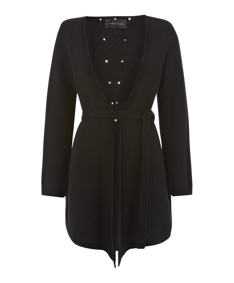 Black Cardigan With Suede - pattern: plain; neckline: collarless open; style: open front; predominant colour: black; occasions: casual, work, creative work; fibres: wool - mix; fit: loose; length: mid thigh; waist detail: belted waist/tie at waist/drawstring; sleeve length: long sleeve; sleeve style: standard; texture group: knits/crochet; pattern type: knitted - fine stitch; season: a/w 2013
