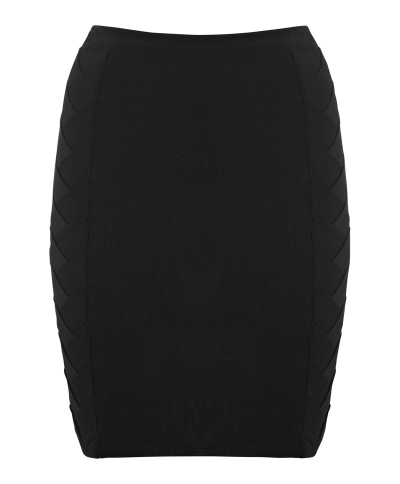 Black Twist Skirt - pattern: plain; style: pencil; fit: tight; waist detail: elasticated waist; waist: mid/regular rise; predominant colour: black; occasions: casual, evening, work, creative work; length: just above the knee; fibres: polyester/polyamide - 100%; pattern type: fabric; texture group: woven light midweight; season: a/w 2013; wardrobe: basic