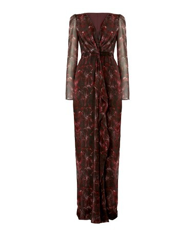 Red Long Bella Feather Print Dress - style: faux wrap/wrap; neckline: low v-neck; fit: fitted at waist; waist detail: flattering waist detail; secondary colour: black; occasions: evening; length: floor length; fibres: silk - 100%; hip detail: subtle/flattering hip detail; sleeve length: long sleeve; sleeve style: standard; texture group: silky - light; pattern type: fabric; pattern size: standard; pattern: patterned/print; predominant colour: raspberry; season: a/w 2013