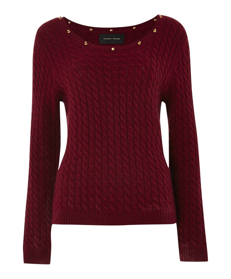 Red Pami Cable With Suede - neckline: scoop neck; style: standard; pattern: cable knit; predominant colour: burgundy; secondary colour: gold; occasions: casual, evening, work, creative work; length: standard; fibres: silk - mix; fit: standard fit; sleeve length: long sleeve; sleeve style: standard; texture group: knits/crochet; pattern type: knitted - other; pattern size: standard; embellishment: studs; season: a/w 2013; wardrobe: highlight; embellishment location: neck