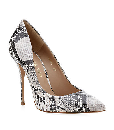 Ellen Pointed Courts - predominant colour: light grey; secondary colour: black; occasions: evening, work, occasion, creative work; material: leather; heel: stiletto; toe: pointed toe; style: courts; finish: plain; pattern: animal print; heel height: very high; season: a/w 2013