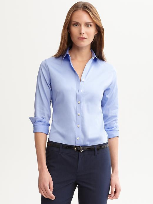 Fitted Non Iron Sateen Shirt Blue Crystal - neckline: shirt collar/peter pan/zip with opening; pattern: plain; style: shirt; predominant colour: pale blue; occasions: casual, work, creative work; length: standard; fibres: cotton - stretch; fit: tailored/fitted; sleeve length: long sleeve; sleeve style: standard; texture group: cotton feel fabrics; pattern type: fabric; season: a/w 2013