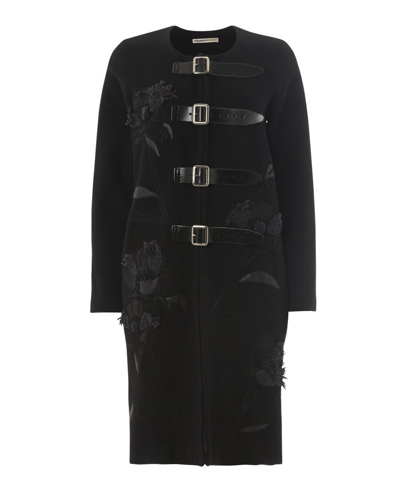 Embroidered Coat With Buckles - pattern: plain; collar: round collar/collarless; style: single breasted; length: on the knee; predominant colour: black; occasions: casual, work, creative work; fit: straight cut (boxy); fibres: wool - mix; sleeve length: long sleeve; sleeve style: standard; collar break: high; pattern type: fabric; texture group: woven bulky/heavy; embellishment: embroidered; season: a/w 2013; wardrobe: highlight; embellishment location: bust, hip
