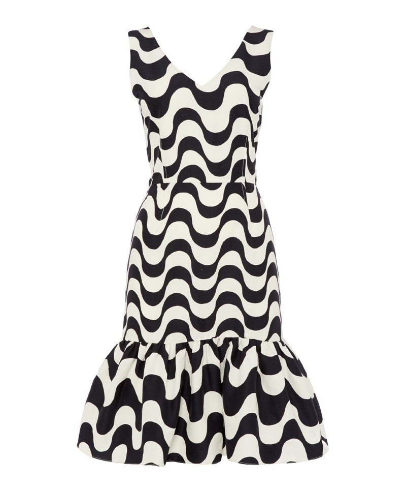 Carmen Copacabana Print Ruffle Dress - style: shift; neckline: v-neck; fit: tailored/fitted; sleeve style: sleeveless; back detail: back revealing; secondary colour: white; predominant colour: black; occasions: evening, occasion; length: just above the knee; fibres: silk - 100%; sleeve length: sleeveless; texture group: silky - light; hip detail: ruffles/tiers/tie detail at hip; pattern type: fabric; pattern size: big & busy; pattern: patterned/print; trends: art-party prints, monochrome; season: a/w 2013