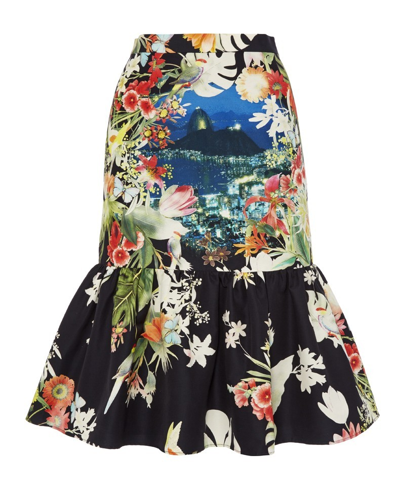 Bahia Rio Print Ruffle Skirt - style: pencil; fit: tailored/fitted; waist: high rise; occasions: evening, occasion; length: on the knee; fibres: silk - mix; predominant colour: multicoloured; hip detail: ruffles/tiers/tie detail at hip; pattern type: fabric; pattern: florals; texture group: woven light midweight; trends: furious florals; season: a/w 2013; pattern size: standard (bottom); multicoloured: multicoloured