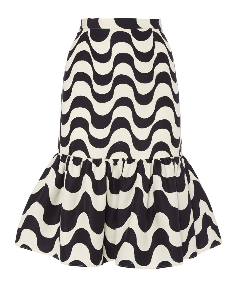 Daiane Copacabana Print Ruffle Skirt - style: pencil; fit: tailored/fitted; waist: high rise; secondary colour: white; predominant colour: black; occasions: evening, occasion, creative work; length: just above the knee; fibres: silk - mix; texture group: silky - light; hip detail: ruffles/tiers/tie detail at hip; pattern type: fabric; pattern: patterned/print; trends: art-party prints, monochrome; season: a/w 2013; pattern size: standard (bottom)