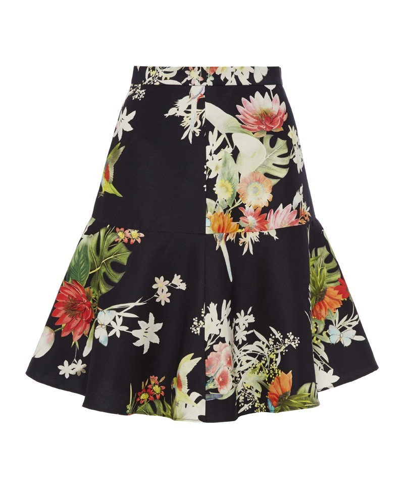 Flora Rio Print Flip Skirt - fit: tailored/fitted; waist: high rise; occasions: evening, creative work; length: on the knee; style: fit & flare; fibres: silk - mix; predominant colour: multicoloured; texture group: silky - light; pattern type: fabric; pattern: florals; trends: furious florals; season: a/w 2013; pattern size: standard (bottom); multicoloured: multicoloured