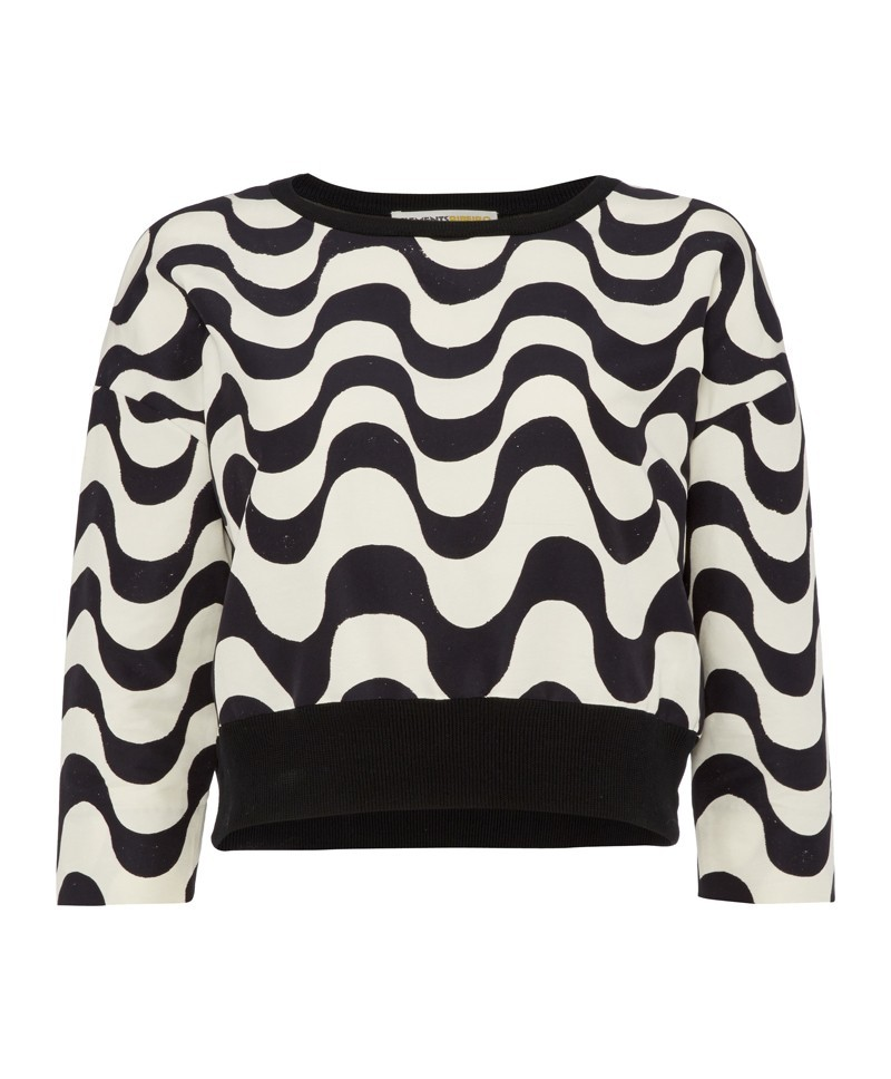 Oscar Copacabana Print Crew Neck With Knitted Back - neckline: round neck; length: cropped; style: sweat top; secondary colour: white; predominant colour: black; occasions: casual, evening, creative work; fibres: cotton - mix; fit: body skimming; sleeve length: 3/4 length; sleeve style: standard; pattern type: fabric; pattern size: standard; pattern: patterned/print; texture group: woven light midweight; trends: art-party prints; season: a/w 2013