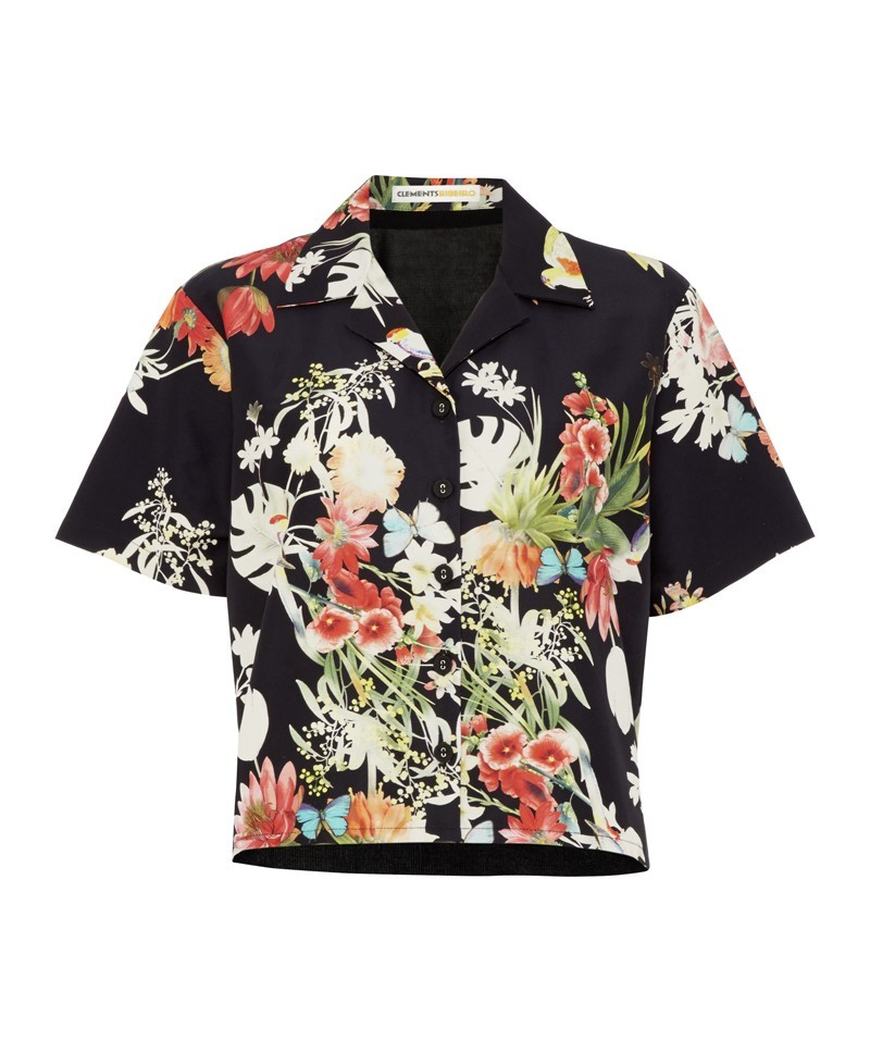 Botanic Rio Print Tourist Shirt With Knitted Back - neckline: shirt collar/peter pan/zip with opening; length: cropped; style: shirt; secondary colour: black; occasions: casual, evening, work, holiday, creative work; fibres: silk - mix; fit: straight cut; predominant colour: multicoloured; sleeve length: short sleeve; sleeve style: standard; pattern type: fabric; pattern size: standard; pattern: florals; texture group: woven light midweight; trends: furious florals, art-party prints; season: a/w 2013; multicoloured: multicoloured
