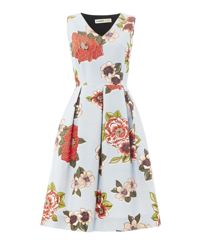 Isaac Chita Print Dress - neckline: v-neck; sleeve style: sleeveless; secondary colour: true red; predominant colour: pale blue; occasions: evening, occasion; length: on the knee; fit: fitted at waist & bust; style: fit & flare; fibres: cotton - mix; hip detail: adds bulk at the hips; sleeve length: sleeveless; texture group: cotton feel fabrics; pattern type: fabric; pattern size: big & busy; pattern: florals; trends: furious florals; season: a/w 2013