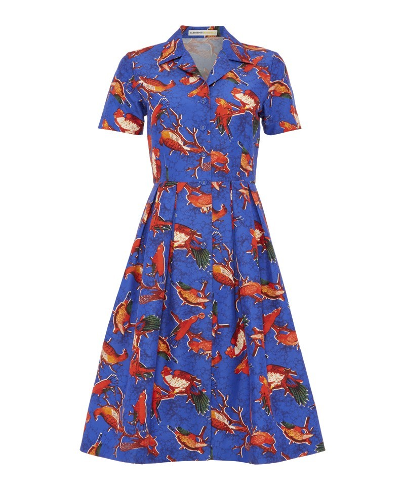 Astrid Parrot Print Carmen Shirt Dress - neckline: shirt collar/peter pan/zip with opening; waist detail: fitted waist; predominant colour: diva blue; secondary colour: bright orange; occasions: casual, evening, occasion, creative work; length: on the knee; fit: fitted at waist & bust; style: fit & flare; fibres: cotton - mix; hip detail: adds bulk at the hips; sleeve length: short sleeve; sleeve style: standard; texture group: cotton feel fabrics; pattern type: fabric; pattern: patterned/print; trends: art-party prints; season: a/w 2013