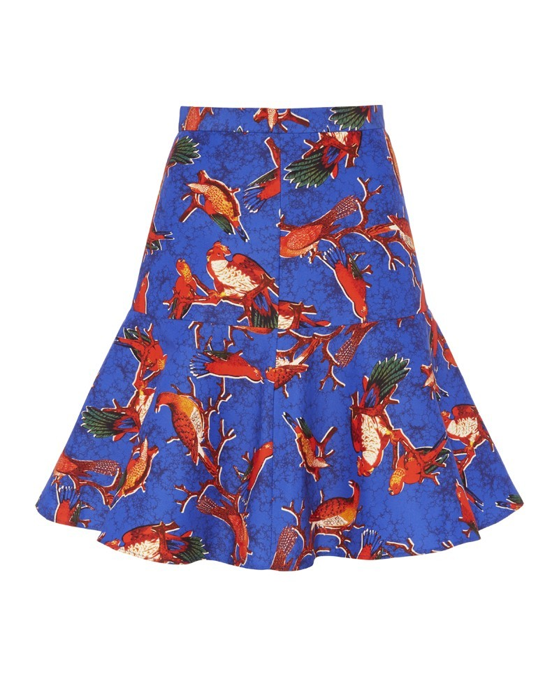 Clara Parrot Print Flip Skirt - style: full/prom skirt; fit: loose/voluminous; waist: high rise; predominant colour: diva blue; secondary colour: bright orange; occasions: casual, evening, occasion, creative work; length: just above the knee; fibres: cotton - mix; texture group: cotton feel fabrics; pattern type: fabric; pattern: patterned/print; trends: art-party prints; season: a/w 2013; pattern size: standard (bottom)