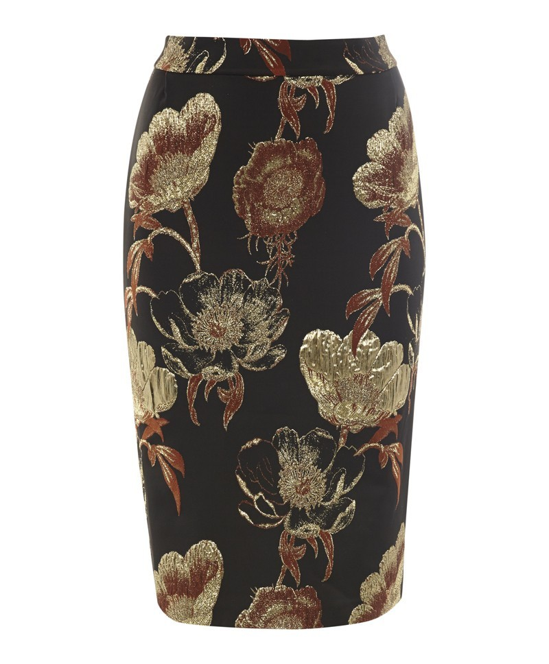 Candy Brocade Skirt - style: straight; waist: high rise; predominant colour: gold; secondary colour: black; occasions: evening, work, occasion; length: on the knee; fibres: polyester/polyamide - mix; fit: straight cut; pattern type: fabric; pattern: florals; texture group: woven light midweight; trends: furious florals; season: a/w 2013; pattern size: standard (bottom)