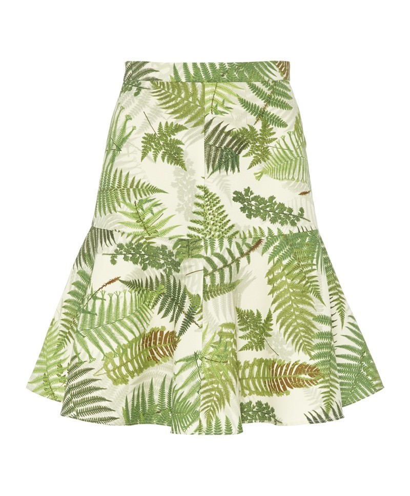 Forest Fern Print Flip Skirt - style: full/prom skirt; fit: loose/voluminous; waist: high rise; secondary colour: ivory/cream; predominant colour: emerald green; occasions: casual, evening, work, occasion, holiday, creative work; length: just above the knee; fibres: cotton - mix; pattern type: fabric; pattern: patterned/print; texture group: woven light midweight; trends: furious florals; season: a/w 2013; pattern size: standard (bottom)