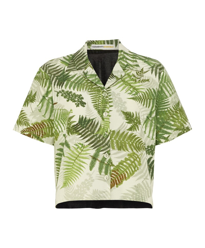 Tourist Fern Print Shirt With Knitted Back - neckline: shirt collar/peter pan/zip with opening; length: cropped; style: shirt; secondary colour: ivory/cream; predominant colour: lime; occasions: casual, evening, holiday, creative work; fibres: silk - mix; fit: straight cut; sleeve length: short sleeve; sleeve style: standard; pattern type: fabric; pattern size: standard; pattern: patterned/print; texture group: woven light midweight; trends: world traveller, art-party prints; season: a/w 2013