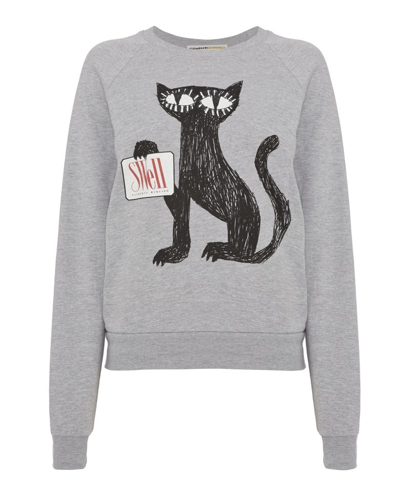 Swell Cat Sweatshirt - neckline: round neck; style: sweat top; predominant colour: light grey; occasions: casual, creative work; length: standard; fibres: cotton - 100%; fit: body skimming; sleeve length: long sleeve; sleeve style: standard; pattern type: fabric; pattern: patterned/print; texture group: jersey - stretchy/drapey; season: a/w 2013
