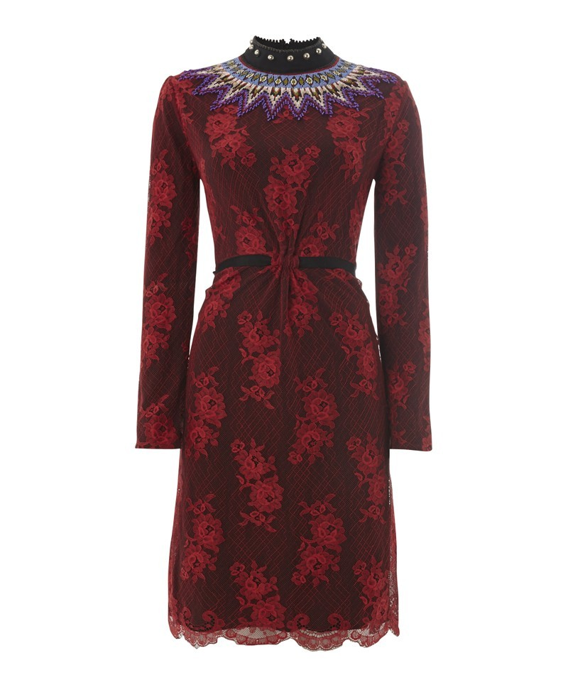 Caterina Lace Dress With Embroidery - style: shift; neckline: high neck; predominant colour: burgundy; occasions: evening, occasion; length: on the knee; fit: body skimming; fibres: cotton - mix; sleeve length: long sleeve; sleeve style: standard; texture group: lace; pattern type: fabric; pattern: patterned/print; embellishment: embroidered; trends: lace; season: a/w 2013