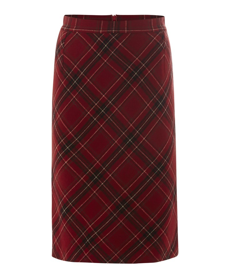 Anna Bias Cut Skirt - pattern: tartan; style: pencil; waist: mid/regular rise; fit: bias; predominant colour: burgundy; secondary colour: black; occasions: casual, evening, work, creative work; length: on the knee; fibres: wool - mix; pattern type: fabric; texture group: woven light midweight; trends: hot brights; season: a/w 2013; pattern size: big & busy (bottom)