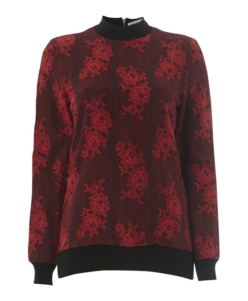 Alicia Lace Sweater - neckline: high neck; style: standard; back detail: contrast pattern/fabric at back; predominant colour: true red; secondary colour: black; occasions: casual, creative work; length: standard; fibres: cotton - mix; fit: standard fit; sleeve length: long sleeve; sleeve style: standard; texture group: knits/crochet; pattern type: fabric; pattern: patterned/print; trends: gothic romance; season: a/w 2013