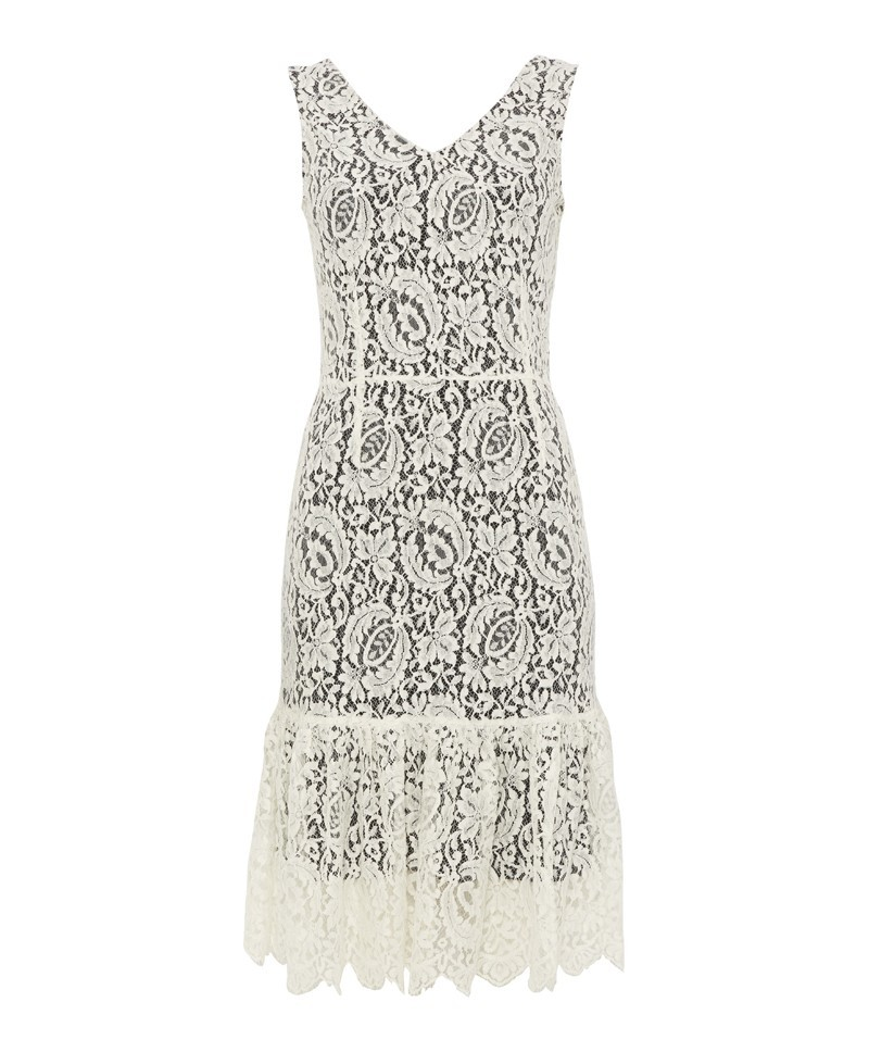 Sonia Lace Ruffle Dress - style: shift; neckline: v-neck; fit: tailored/fitted; sleeve style: sleeveless; predominant colour: ivory/cream; secondary colour: black; occasions: evening, occasion; length: on the knee; fibres: silk - 100%; sleeve length: sleeveless; texture group: lace; hip detail: ruffles/tiers/tie detail at hip; pattern size: big & busy; pattern: patterned/print; trends: lace; season: a/w 2013