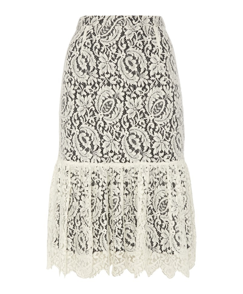 Luiza Lace Ruffle Skirt - length: below the knee; fit: tailored/fitted; waist: high rise; predominant colour: white; secondary colour: black; occasions: casual, evening, occasion, holiday; style: fit & flare; fibres: cotton - mix; texture group: lace; pattern type: fabric; pattern: patterned/print; trends: lace; season: a/w 2013