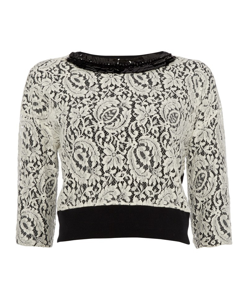 Anna.P Lace Top With Knitted Back - back detail: contrast pattern/fabric at back; predominant colour: ivory/cream; secondary colour: black; occasions: casual, evening, creative work; length: standard; style: top; fibres: cotton - mix; fit: loose; neckline: crew; sleeve length: 3/4 length; sleeve style: standard; texture group: lace; pattern type: fabric; pattern size: standard; pattern: patterned/print; embellishment: sequins; trends: lace; season: a/w 2013